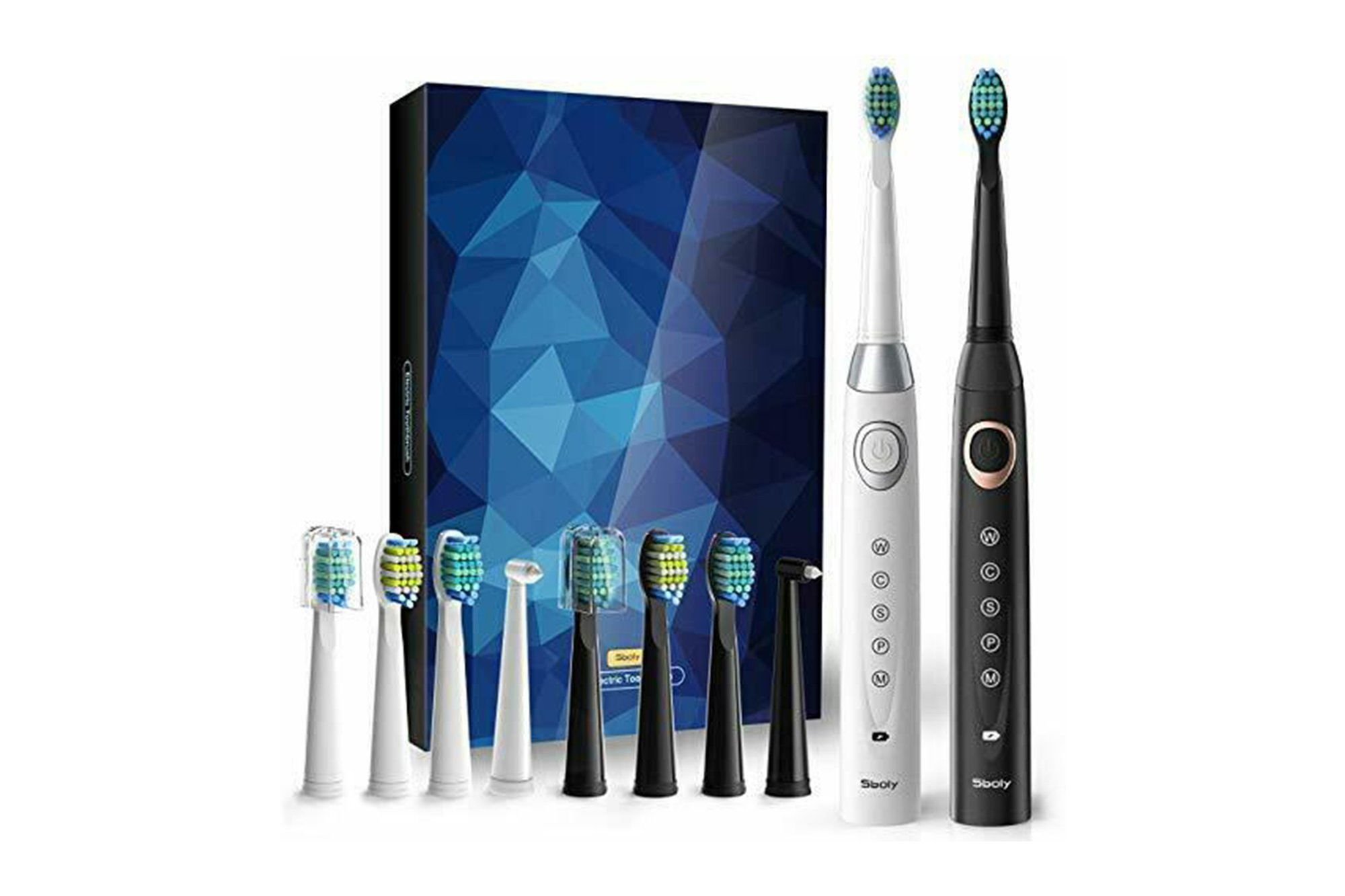 2x SBOLY 508 Sonic electric toothbrushes (Black and White)