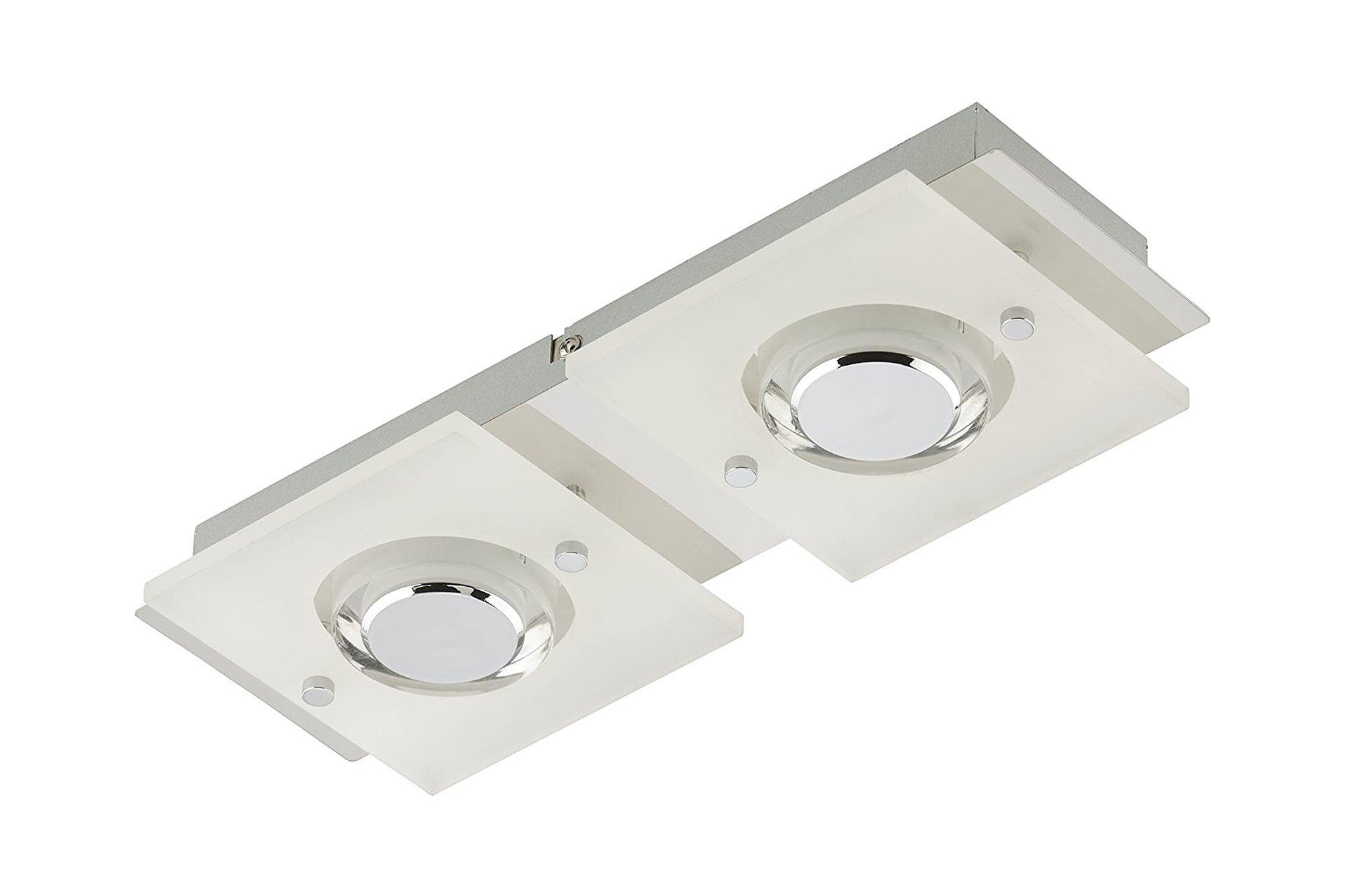 Briloner LED Ceiling Lamp Nickel Chrome Spot Bar 2 Flame Lamp Light 3534-028