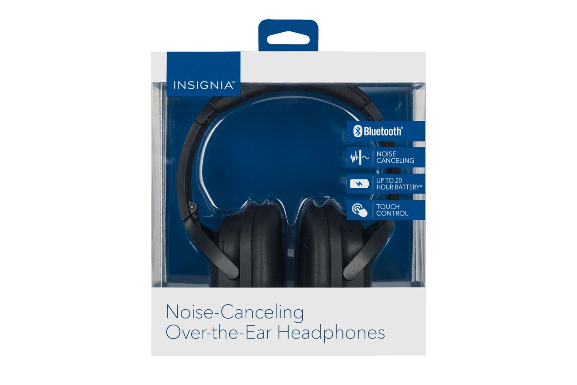 Insignia Wireless Noise Canceling Over-the-Ear Headphones Black
