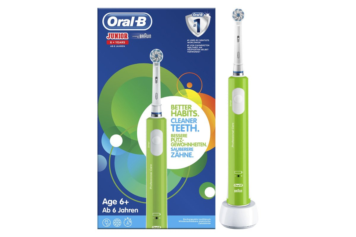 New Oral-B Junior Rechargeable Electric Toothbrush 6+ Green