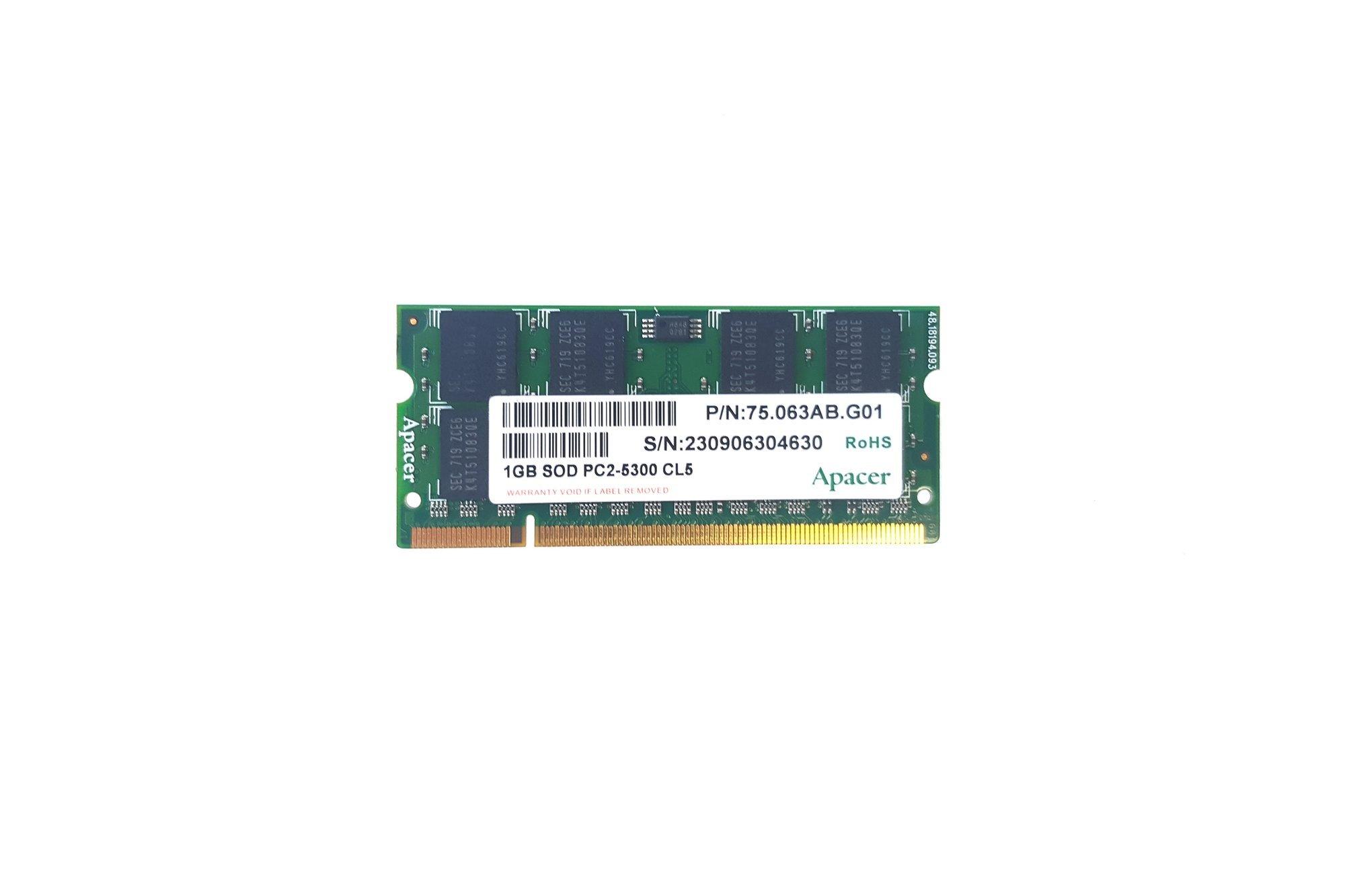 SODIMM Memory RAM Apacer 1GB DDR2 75.063AB.G01