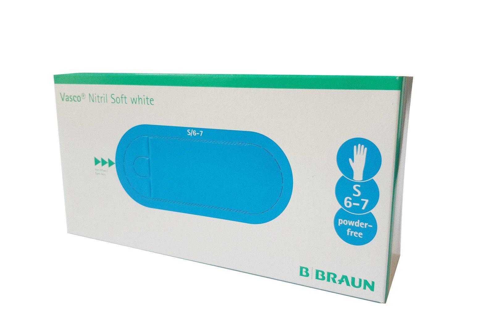 B Braun Vasco Nitril Soft White Protective Gloves 200 pcs Size S 6-7 Latex-Free