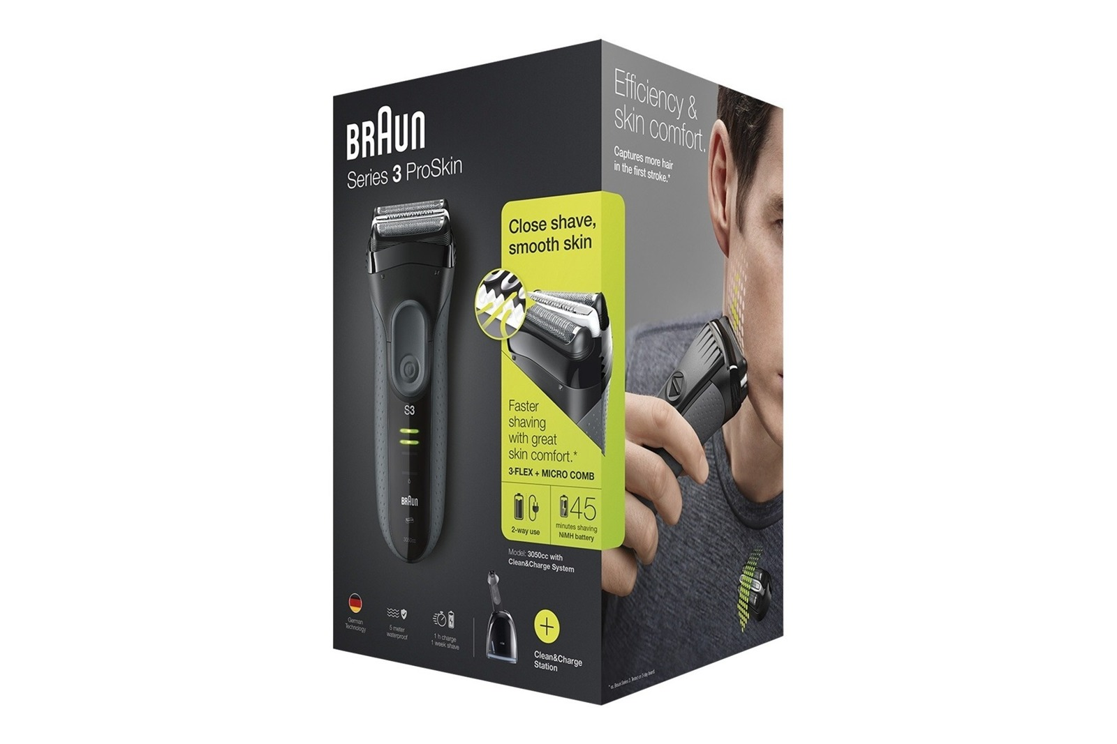 Braun Series 3 ProSkin 3050cc Shaver Grey + Clean&Charger Station
